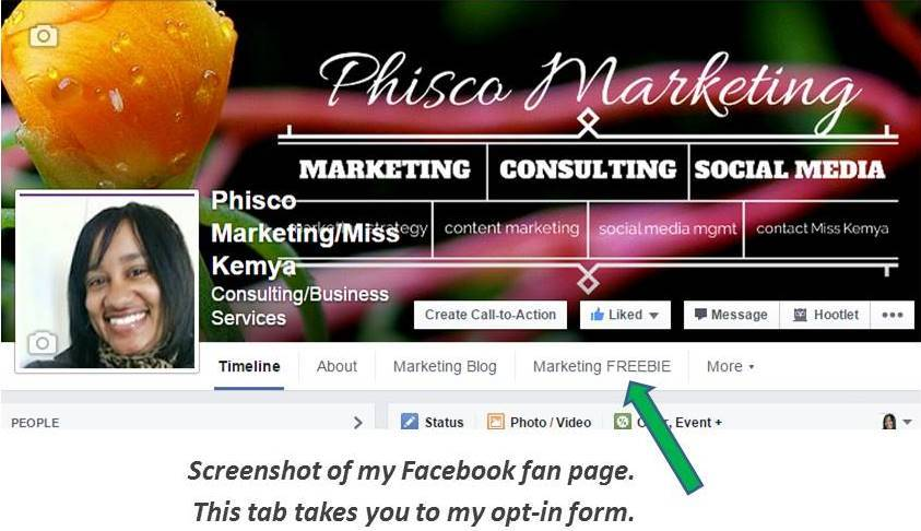 FB screenshot of Phisco Marketing fan page