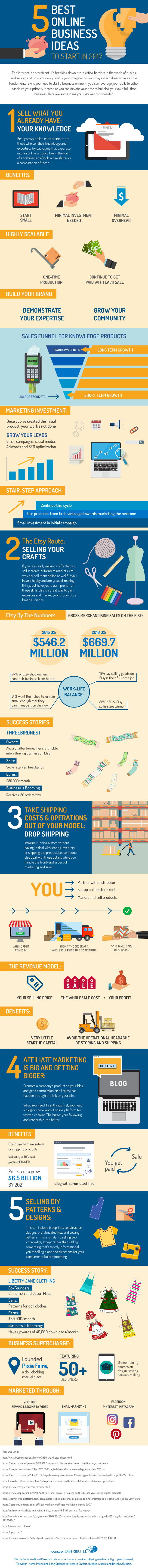 5 Best Online Business Ideas to Start Today Infographic by Distributel
