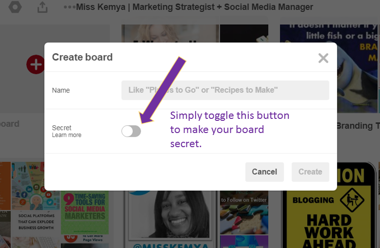 How to create a secret Pinterest board step 2