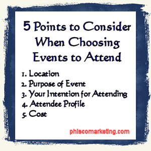 5 Points To Consider When Choosing Events To Attend