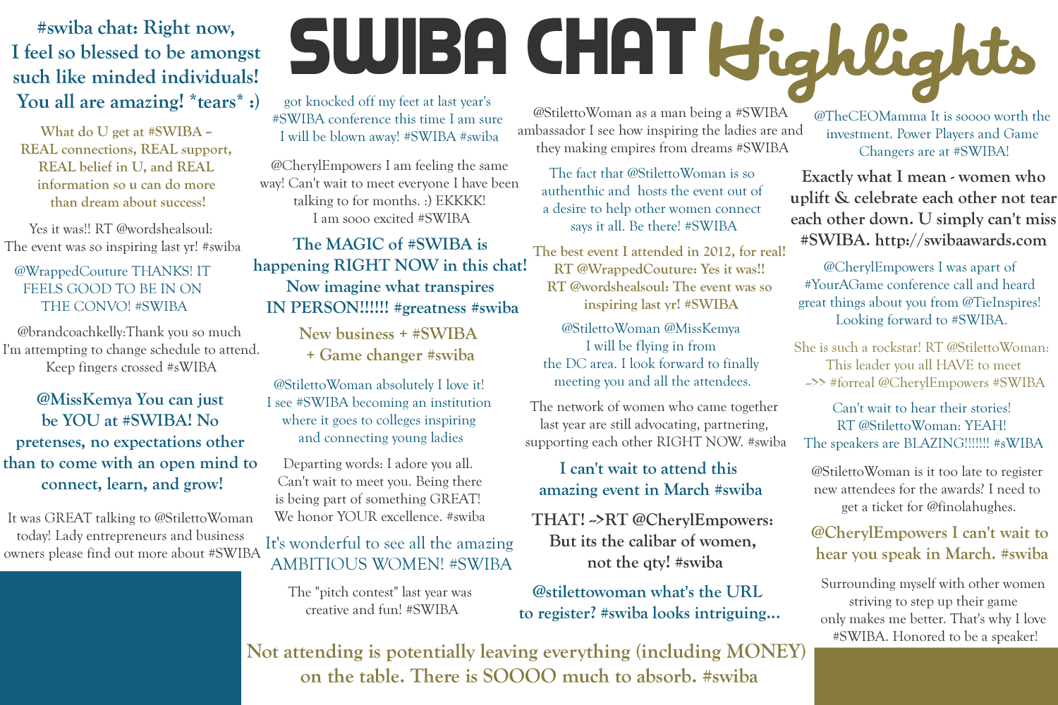 Twitter Chat with SWIBA Awards Founder Tuesday 2-19-13