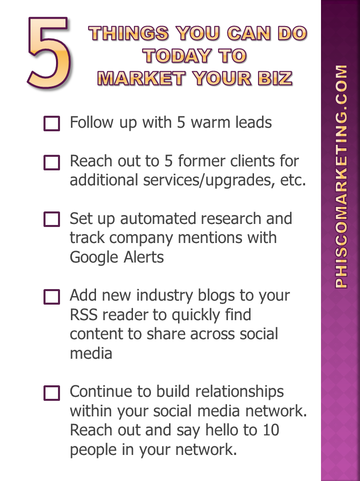 Five Steps You Can Take Today To Market Your Business