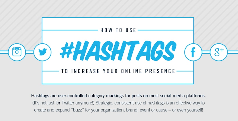 use hashtags to increase your online presence