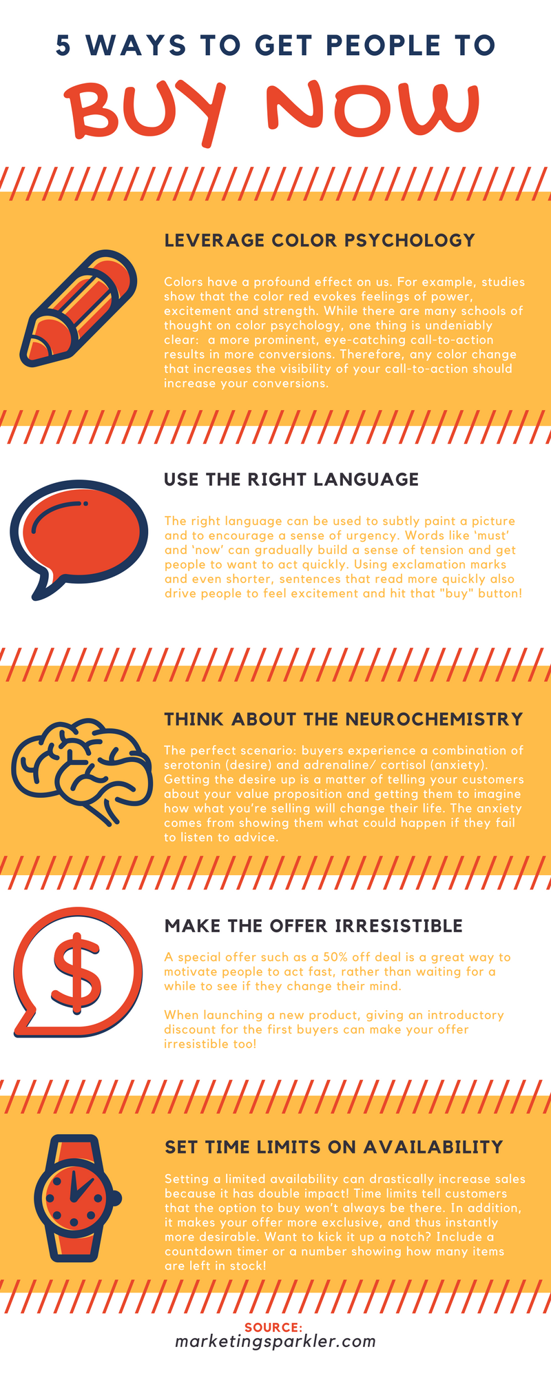 5 ways to get people to buy now infographic by Marketing Sparkler
