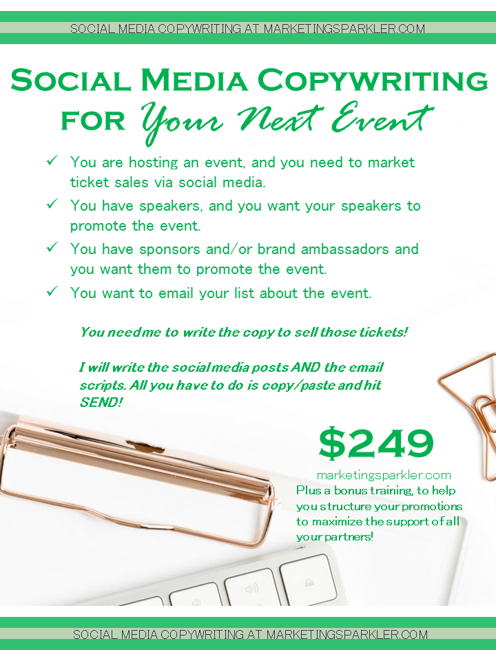 SERVICE Social Media Copywriting For Your Next Event