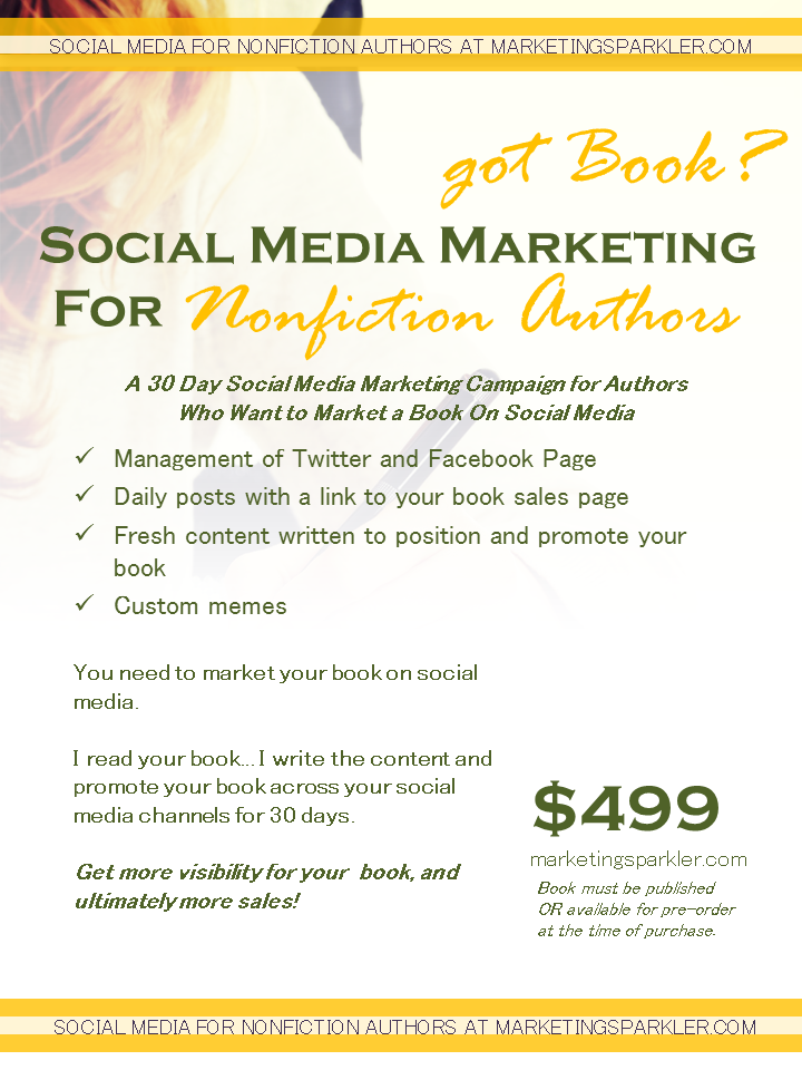 SERVICE Social Media Marketing for NonFiction Authors by Marketing Sparkler