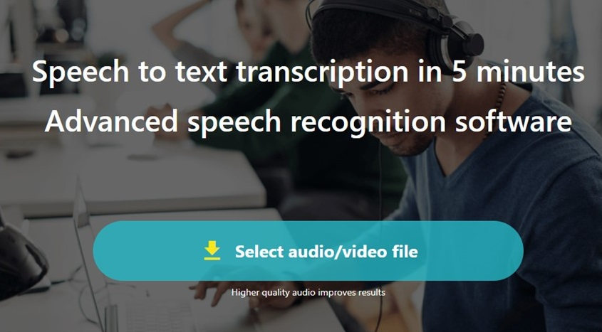 TEMI audio and video transcription service home page screen shot